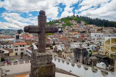 Stone cross decoration belonging to San Diego church with beautiful view showing Stock Photos