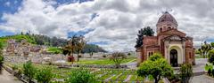 San Diego cemetary Quito spectacular view showing main building dome, green Stock Photos