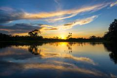 Sunset and Reflection in the Amazon Stock Photos