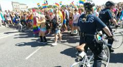 Police on bikes at Gay pride parade in Stockholm Stock Footage