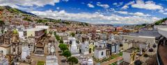 Spectacular overview of cemetary San Diego showing typical catholic graves with Stock Photos