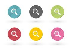 Magnifying glass icons in multiple colors Stock Illustration
