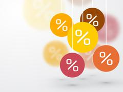 symbol percent discounts and blur icon on a background - stock illustration