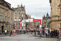 Tourists at the Fringe Festival at Royal Mile in Edinburgh, Scotland, 11.08.  Stock Photos