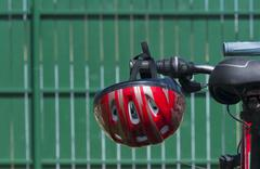 Bike helmet on an ATV Stock Photos