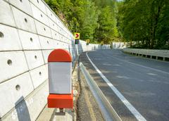 Kilometer stone post on the roadside in Romania Stock Photos