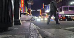 Traffic Hollywood Boulevard at night Vertical pan trash can. Los Angeles. 4K UHD Stock Footage