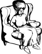 Mature Woman in Chair - stock illustration