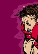 Boxer with Black Eye Stock Illustration