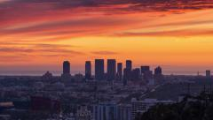 Los Angeles cityscape View Hollywood Beverly Hills Century City Sunset night. 4K - stock footage