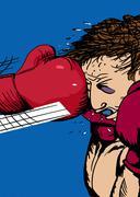 Boxing Glove Hitting Man Stock Illustration