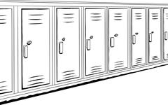 Row of Outlined Lockers - stock illustration