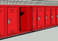 Open Red Locker In Hall Background - stock illustration