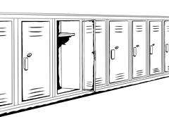 Outline Background of Lockers - stock illustration