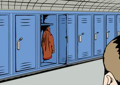 Person Looking at Empty Locker Stock Illustration