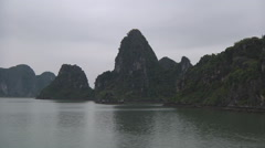 Mountain islands in Hạ Long Bay, North Vietnam Stock Footage