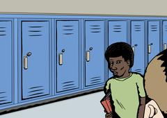 Students Near Blue Lockers - stock illustration