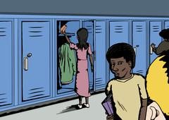 Various Students Near Lockers - stock illustration