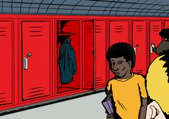 Group of Students Near Red Lockers Stock Illustration