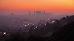Los Angeles cityscape. View from Hollywood Beverly Hills Century City Sunset 4K Stock Footage