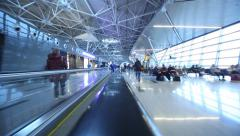 POV moving in airport terminal. Timelapse. Stock Footage