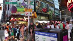People crowd on the corner of 7 Ave 42 Street Times Square, NYC. Timelapse view. - stock footage