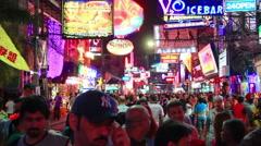 Crowd of people on walking street in Pattaya, Thailand Stock Footage