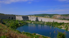 The lake with the cleanest water on the site of an abandoned limestone quarry. Stock Footage