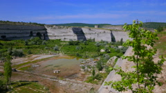 Abandoned open pit mining of limestone Stock Footage