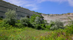 Abandoned stone quarries for mining limestone in Inkerman. Crimea. Stock Footage