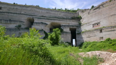 Inkerman. Crimea. Tunnel in the mountain in an abandoned limestone quarry. Stock Footage