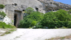 Entrance to the old abandoned quarry. Inkerman, Crimea. Stock Footage