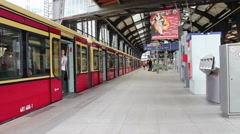 Train Leaves The Central Station at Bahnhof Friedrichstrasse in Berlin. Stock Footage