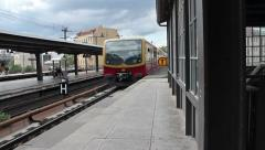Train Pulls Into The Central Station at Bahnhof Friedrichstrasse in Berlin. Stock Footage