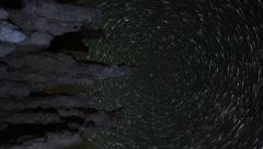 Astrophotography Time Lapse of Star Trails over Tufas in Mono Lake -Vertical- Stock Footage