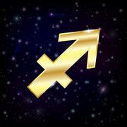 Golden Sagittarius zodiac sign - stock illustration