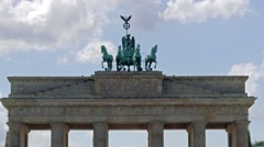 The Brandenburg Gate in Berlin. Close up on  chariot drawn by four horses Stock Footage