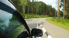 Stock Video Footage of Car is moving on curving road in Altay (POV)