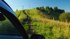 Car is moving on impassable road Stock Footage