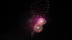 Fireworks in the night sky, Tokyo, Japan Stock Footage