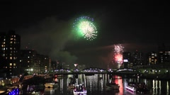 Summer fireworks festival at Sumida river, Tokyo, Japan Stock Footage