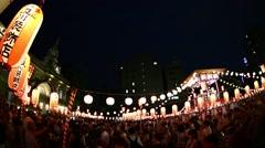 Bon-odori traditional summer dance festival at Tsukiji Honganji temple, Tokyo, Stock Footage