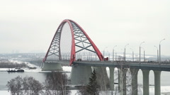 New cable-stayed bridge in winter, Novosibirsk, Russia - stock footage