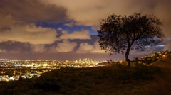 Scenic clouds passing Los Angeles cityscape, night view from Hollywood Hills. 4K Stock Footage