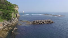 Aerial footage of the sea in Ubara coast, Chiba Prefecture, Japan Stock Footage