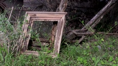 Wood picture frame outside an old wood building Stock Footage