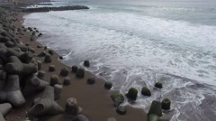 Aerial footage of the sea after sunrise in Atagawa hot spring area, Shizuoka Stock Footage