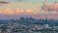 Stock Video Footage of City of Los Angeles skyline changing from day to night. 4K UHD Timelapse.