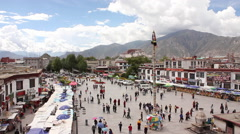 Lhasa, Tibet, Barkhor Square Stock Footage