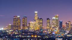 Zoom in downtown Los Angeles skyline change dusk night city. 4K UHD Timelapse Stock Footage
